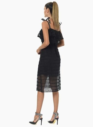 Que Kare Yaka Elbise Siyah